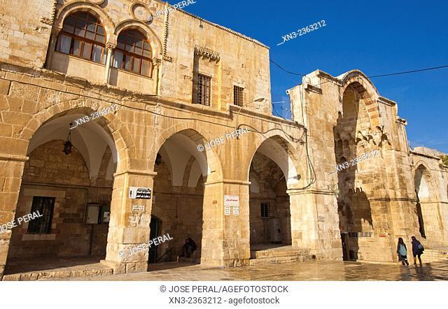At right Cotton Merchants Gate, Temple Mount, Old City, Jerusalem, Israel