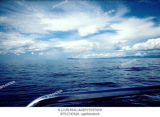 French coastline seen from ship's deck, Mediterranean Sea
