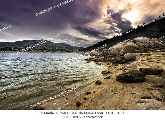 Sunrise at Burguillo reservoir in Sierra de Gredos. Avila. Spain. Europe