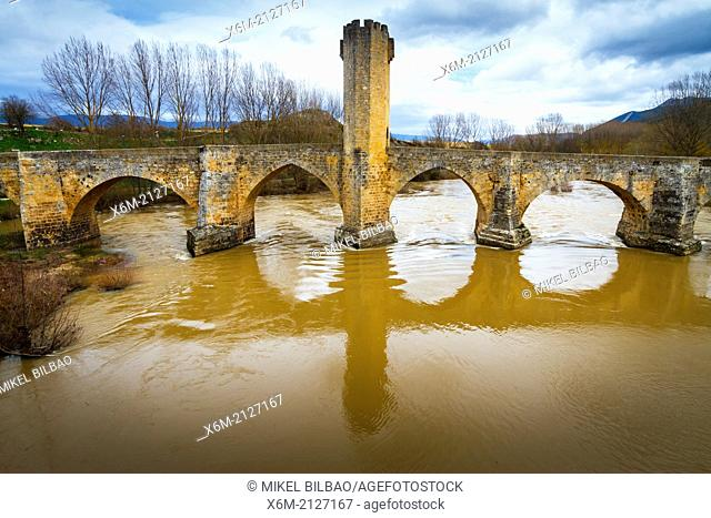 Medieval bridge and Ebro river. Frias, Burgos, Castile and Leon. Spain, Europe
