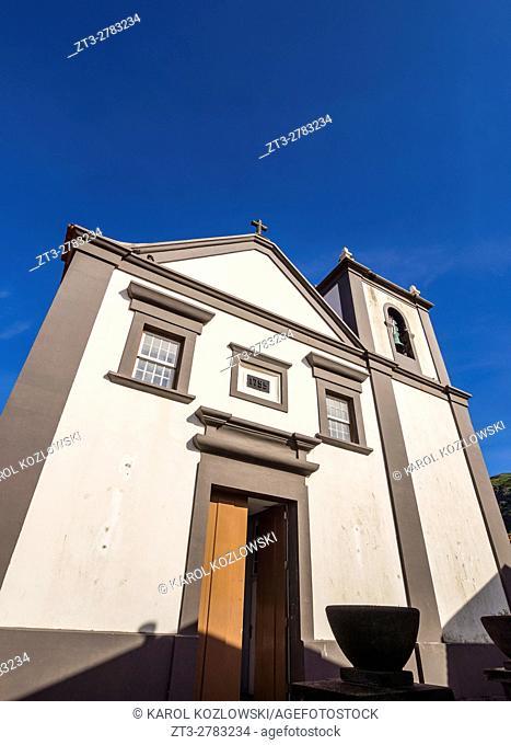 Portugal, Azores, Corvo, Vila do Corvo, View of the Church of Nossa Senhora dos Milagres