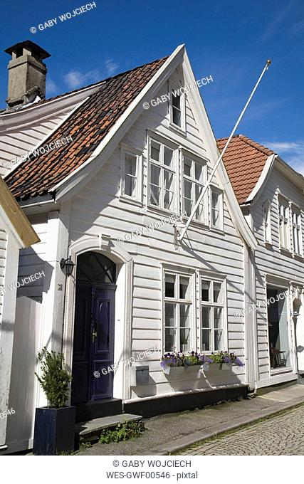Norway, Bergen, Old Town, historic frame houses