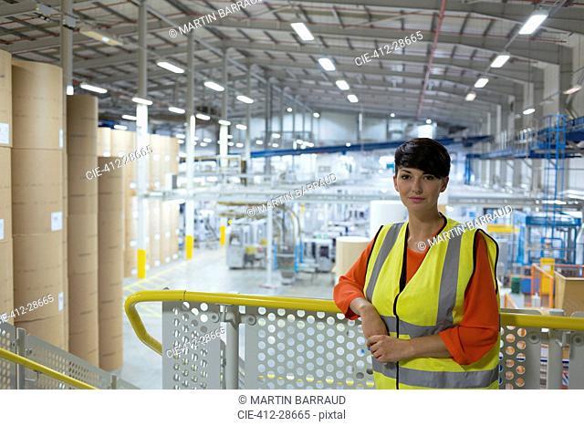 Portrait confident worker on platform above factory
