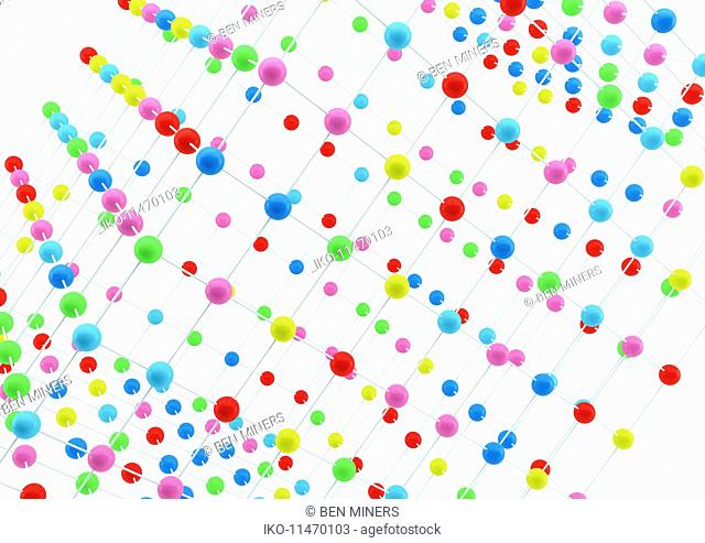 Close up grid arrangement of multicolored balls on white background