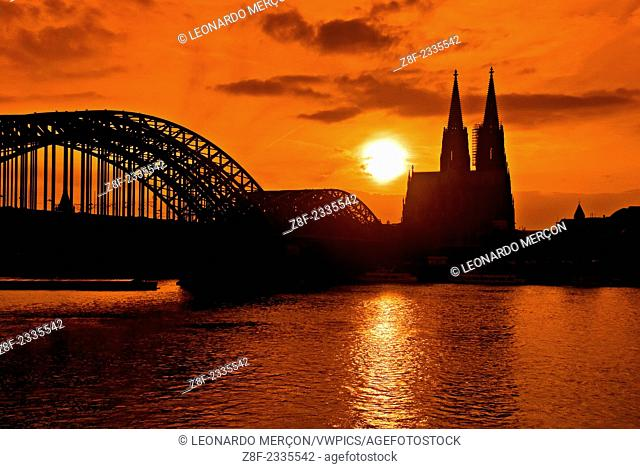 Sunset from the River Rhine behind the Cologne Cathedral