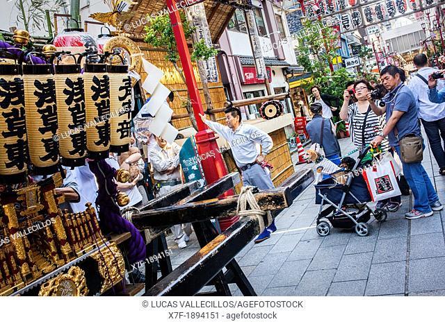 Street scene during Sanja Matsuri, near Senso-ji Temple Asakusa Tokyo city, Japan, Asia