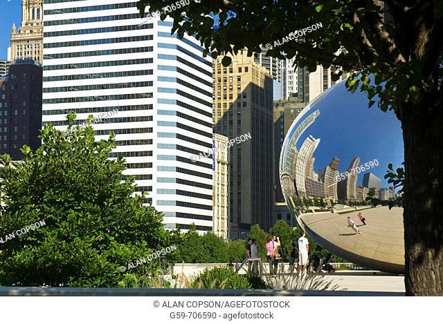 USA Illinois Chicago Millennium Park Cloud Gate sculpture by Anish Kapoor