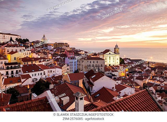 Morning at Portas do Sol in Alfama, Lisbon, Portugal