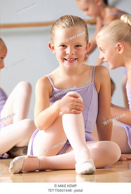 Portrait of female ballet dancer 6-8 in dance studio