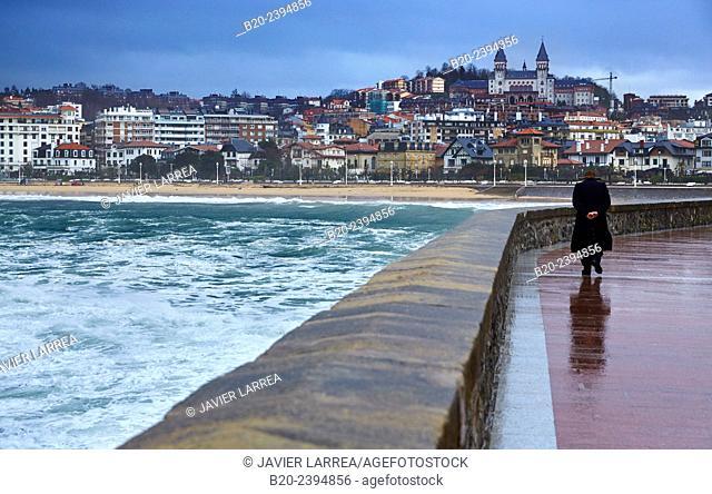 Storm with waves of 7 meters on the Basque coast. Orange alert in the Cantabrian coast. Donostia. San Sebastian. Gipuzkoa. Basque Country. Spain