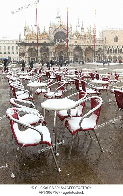 St. Mark Square during a snowfall, Venice, Veneto, Italy