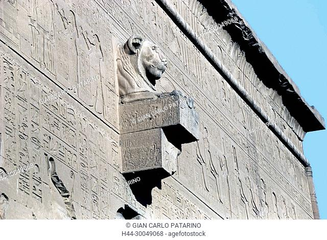 Lion-headed water spout on the outer wall of the Temple of Hathor at Dendera