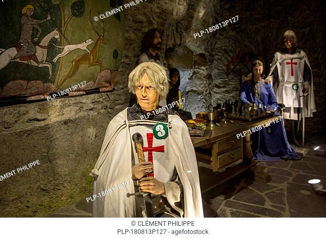 Diorama showing crusaders in the medieval Château de Bouillon Castle, Luxembourg Province, Belgian Ardennes, Belgium