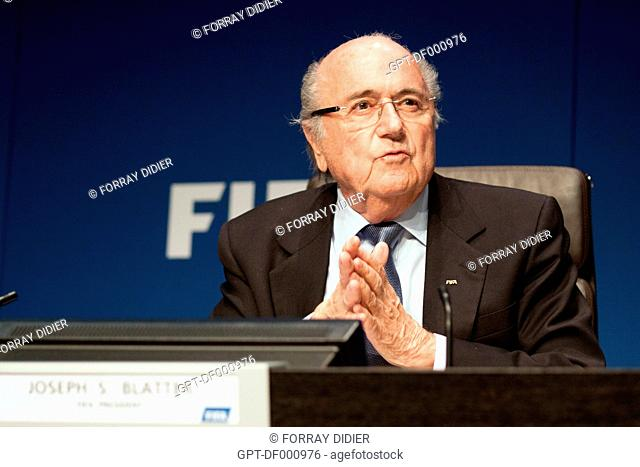JOSEPH SEPP BLATTER REPLYING TO A QUESTION FROM A JOURNALIST DURING A PRESS CONFERENCE AT THE FIFA HEADQUARTERS, INTERNATIONAL FOOTBALL FEDERATION, ZURICH