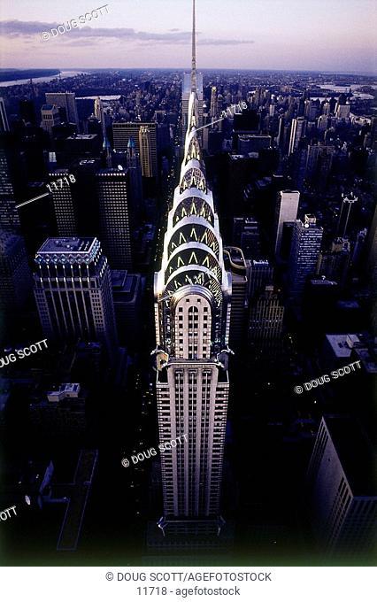 Aerial of Chrysler Building at dusk. New York City. USA
