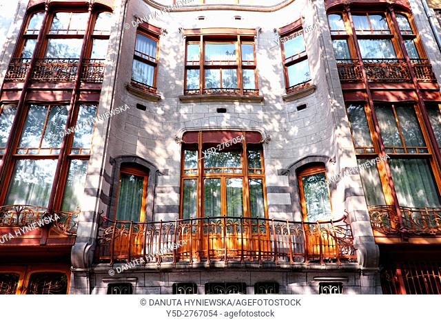 part of front facadel - Art Nouveau Solvay Hotel by Victor Horta, together with three other town houses of Victor Horta, including Horta's own house and atelier