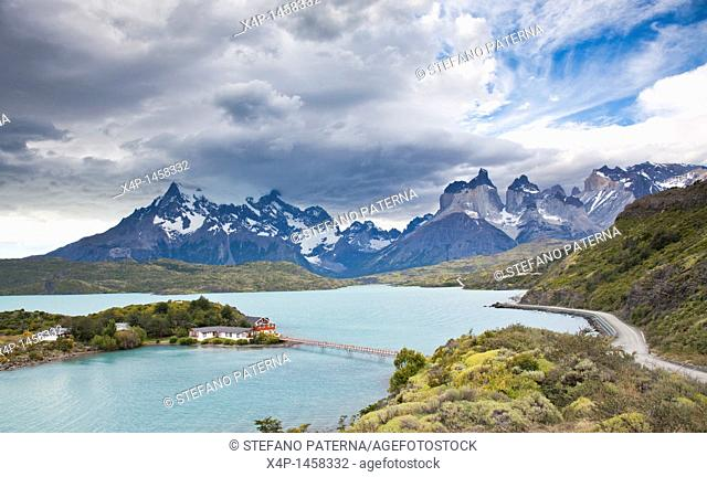 Hosteria Pehoe and Lake Pehoe, Torres del Paine National Park, Chile