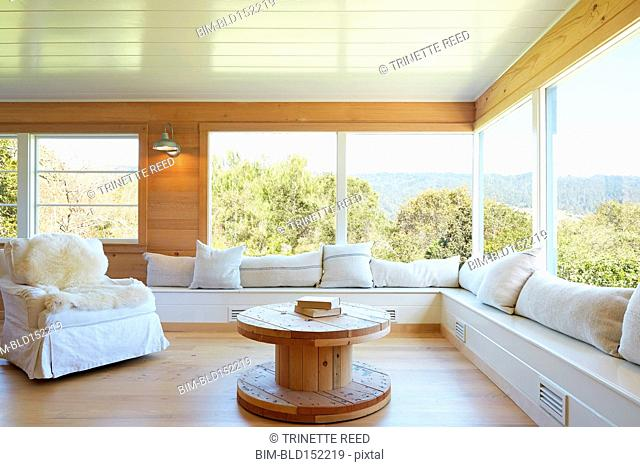 Sofa, coffee table and window in rustic living room