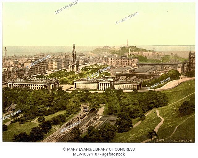 Edinburgh from the castle, Scotland. Date between ca. 1890 and ca. 1900