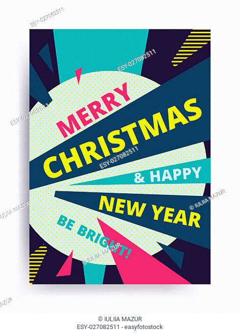Merry christmas New Year design, eye catching banner template. Bright colorful vector illustrations for greeting card, posters, print, mobile phoned designs