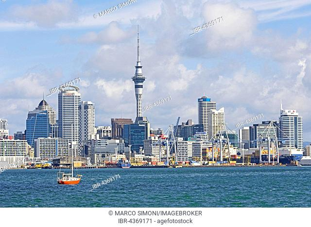 Skyline with skyscrappers and Sky Tower, Auckland, North Island, New Zealand