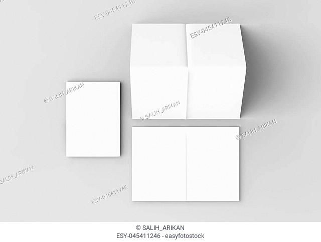 8 page leaflet - French fold right angle vertical brochure mock up isolated on soft gray background. 3D illustrating