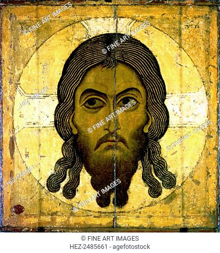Holy Mandylion (The Vernicle), 1130-1200. Russian icon painting. Found in the collection of the State Tretyakov Gallery, Moscow
