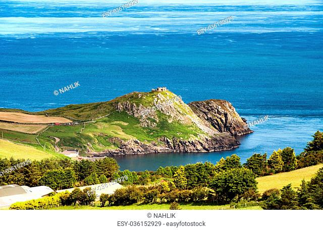 Torr Head rocky cliff and peninsula in County Antrim, Northern Ireland