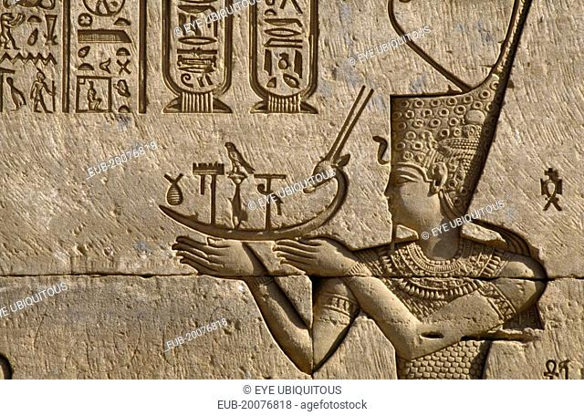 Temple of Hathor. Detail of frieze depicting the pharaoh making offerings to Hathor