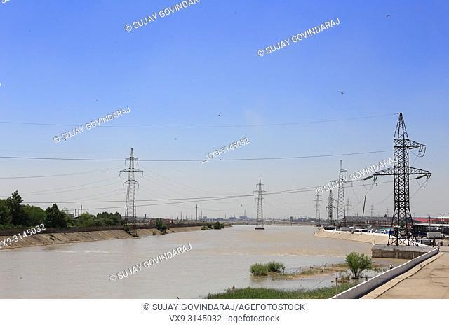 A wide view of river Anhor at Tashkent in Uzbekistan