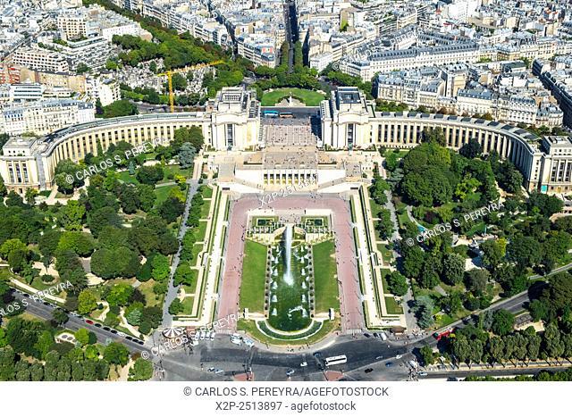 Partial view of Paris from the Eiffel Tower, Ile de France, France