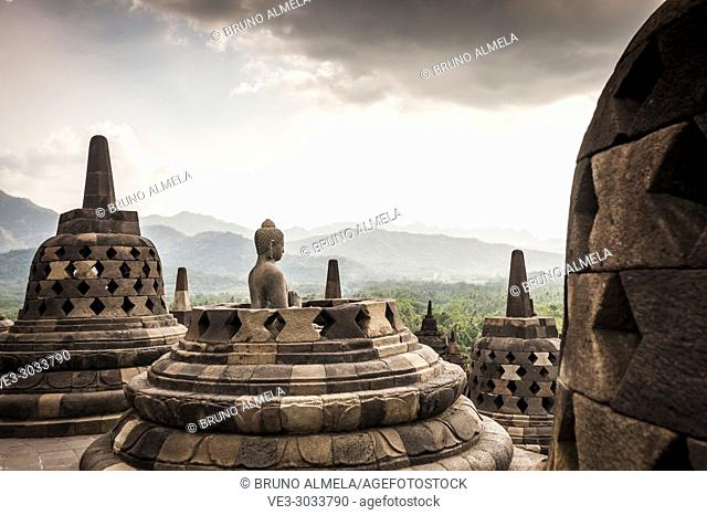 Statue of Buddha in Borobudur Temple, a UNESCO World Heritage Site in Magelang (Magelang Regency, Central Java, Indonesia)