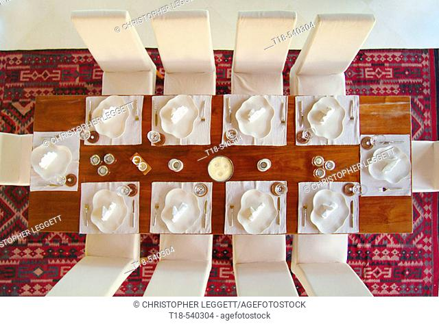 bird's eye view of table setting