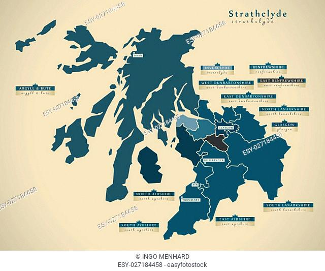 Modern Map - Strathclyde UK Scotland illustration