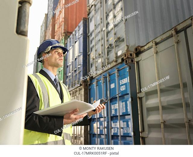 Businessman With Shipping Containers