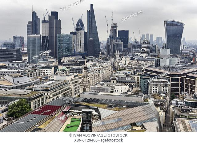 City of London, Cityscape from the gallery of St Paul's Cathedral, London, England, UK