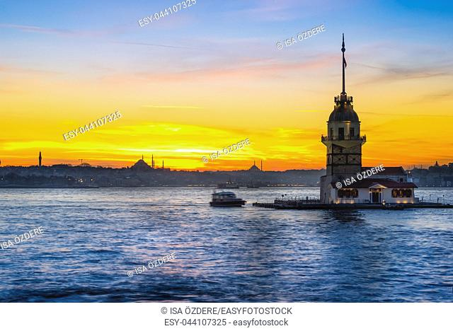 TURKEY -ISTANBUL:5 MARCH 2017 ,Maiden Tower,medieval building/lighthouse,(Tower of Leandros,Turkish: Kiz Kulesi) at entrance to Bosporus Strait with Hagia...