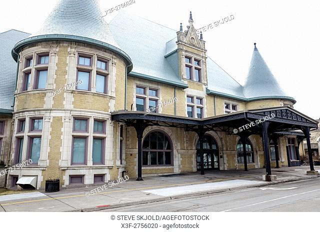 The Minnesota Historic Union Depot located in downtown Duluth housing the Lake Superior Railroad Museum Duluth Minnesota MN USA