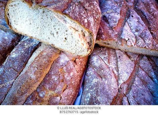 Typical Galician bread in market. Padrón, Province of La Coruña, Galicia, Spain