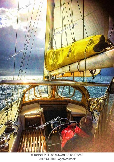 Sailing. A slow cruise on a light breeze