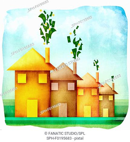 Money emerging from the chimneys of houses, illustration
