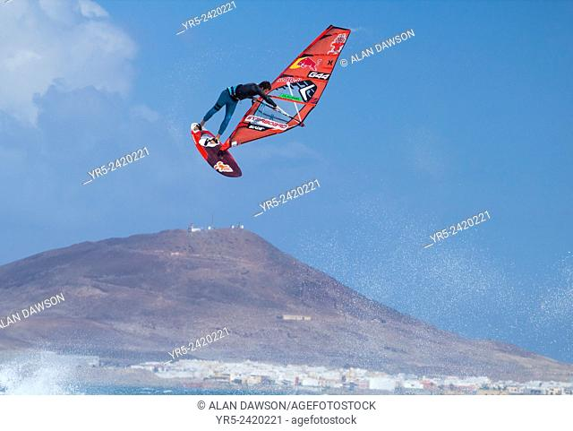 Professional windsurfer Philip Koester performing a huge jump at Pozo Izquierdo on Gran Canaria, Canary Islands, Spain. Philip Koester is the youngest ever wave...