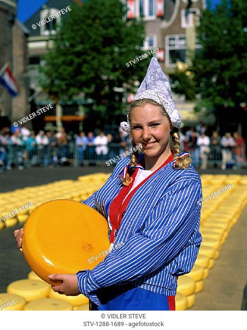 Alkmaar, Blond, Cheese, Dutch, Girl, Headdress, Holiday, Landmark, Market, Netherlands, Outdoors, People, Tourism, Traditional