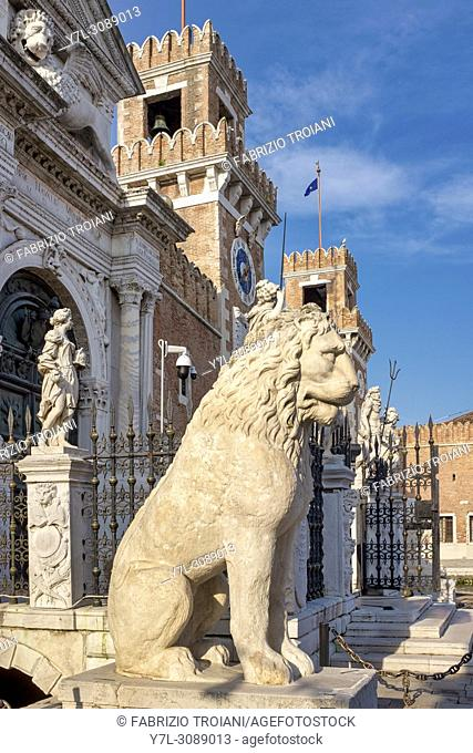 Piraeus lion on display at the Venetial Arsenal, Venice, Italy