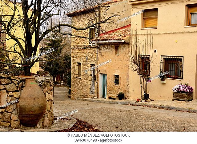 Clay jar street in Palazuelos, Guadalajara, Spain