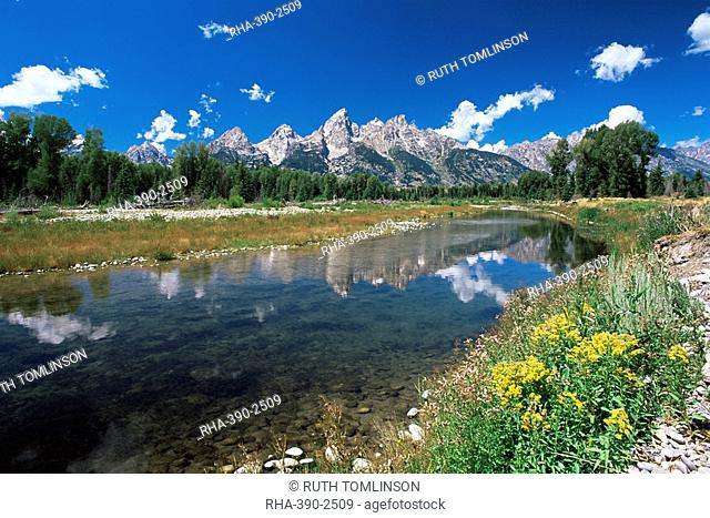 View from Schwabacher's Landing across the Snake River to the Teton Range, Grand Teton National Park, Wyoming, United States of America, North America