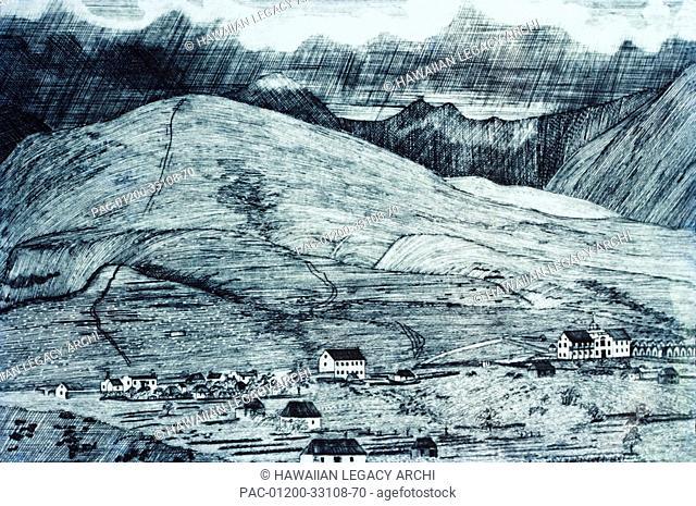 c 1835 Art/Illustration, Hawaii, Maui, Village of Lahaina, Lahainaluna Seminary Press