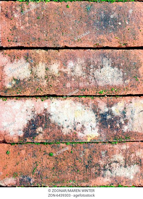 old bricks with some moss, background texture, close up