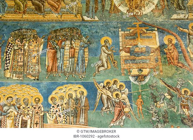 Church of St George of the Voronet Monastry, exterior wall paintings representing the biblical scene The Last Judgment, Third register, St Paul
