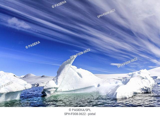 Antarctic coast. Icebergs near the entrance of the Lemaire Channel of the Antarctic Peninsula